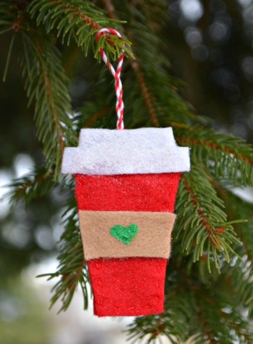 Starbucks Cup: Made with felt, and green paint for heart