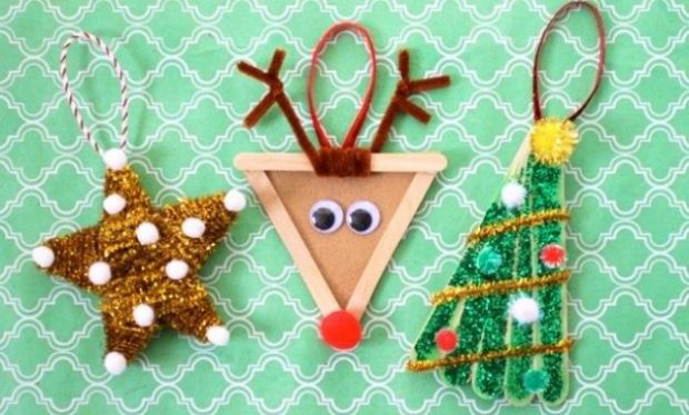 Star: Made with popsicle sticks and chenille pipe cleaner and small balls, Reindeer: Made with chenille pipe cleaner, popsicle sticks brown paper and red ball, Christmas Tree: Made with popsicle sticks, balls, glitter and chenille pipe cleaner