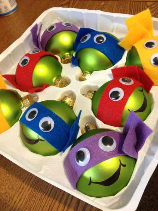 Ninja Turtles: Made with Green Balls with felt for the bands, use permanent marker for mouth